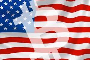 united states flag with bitcoin logo